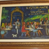 Indrammet maleri af restaurenten