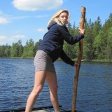 Pernille forsøger at få os i land   Photo: Charline Skovgaard