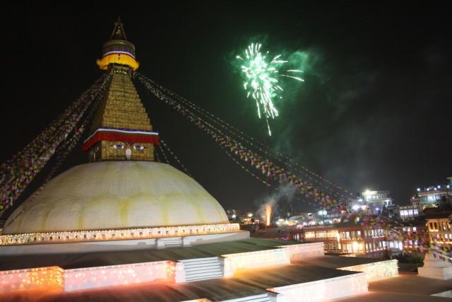 Stupa at night by Divali festival    Photo-Charli