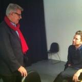 Backstage for Morten Grundwald og Nicolai Lee Kaas en lille sludder.     Foto: Fairstyles