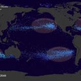 Nasa foto taget fra satelit, hvor man tydeligt at se omfanget af flydende plastik